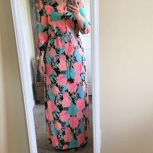Anthropologie by HUTCH Neon Floral Pom Pom Maxi